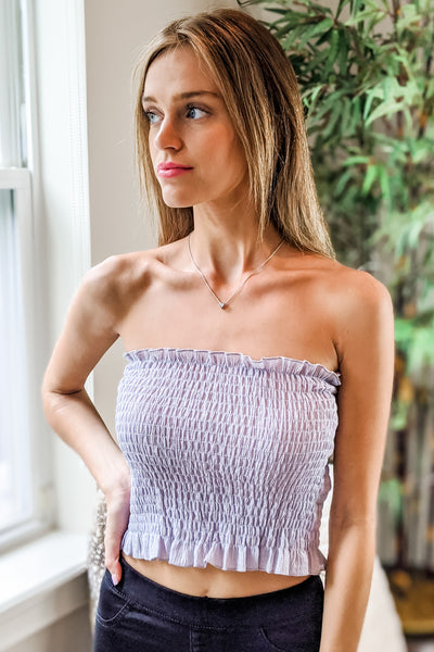 Fun & Simple Strapless Smocked Tube Top - Blue Gray