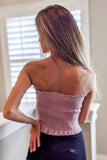 Fun & Simple Strapless Smocked Tube Top - Dusty Rose