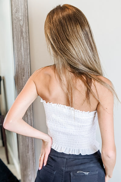 Fun & Simple Strapless Smocked Tube Top - Off White