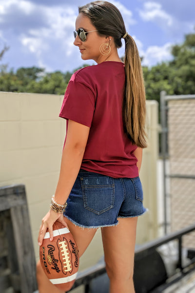 """Game On"" Football Graphic Tee - Maroon"