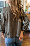 Gentle Touch Collared Jacket - Olive
