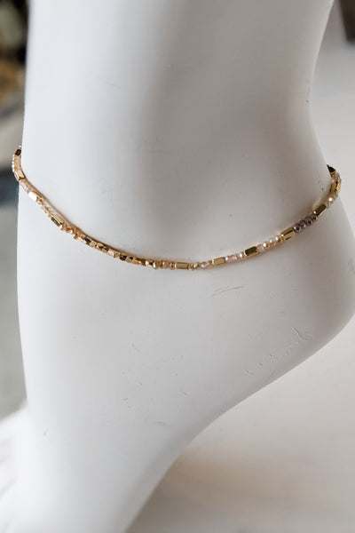 Glass & Metal Bead Anklet - Natural