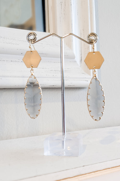 Glass & Metal Hexagon Drop Earrings - Gray