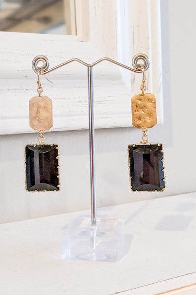 Glass & Metal Rectangle Drop Earrings - Black