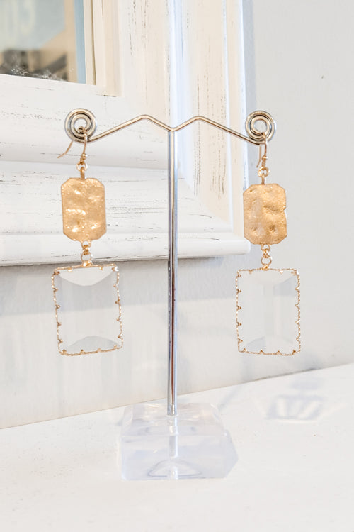 Glass & Metal Rectangle Drop Earrings - Clear