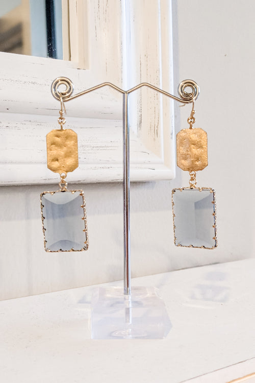 Glass & Metal Rectangle Drop Earrings - Gray