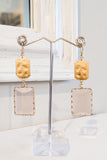 Glass & Metal Rectangle Drop Earrings - Pink
