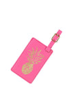 Gold Foil Pineapple Leather Luggage Tag - Hot Pink