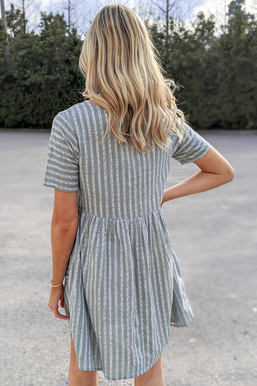 Got a Feeling Striped Button Front Dress - Dusty Mint