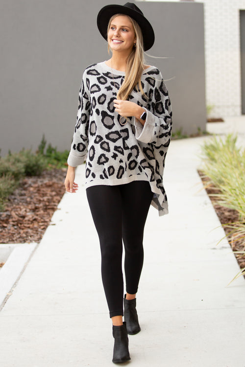 Grab Your Attention Leopard Print Sweater - Gray