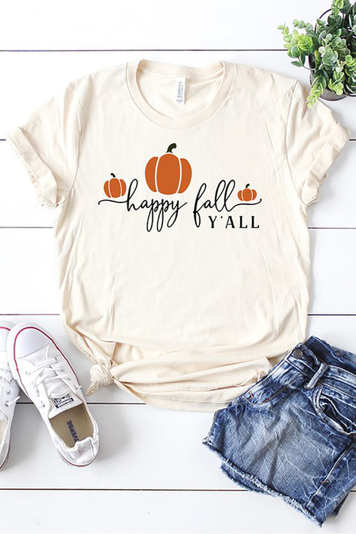 """Happy Fall Y'all"" Graphic Tee - Cream"