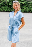 Happy Thoughts Button Down Denim Dress - Denim