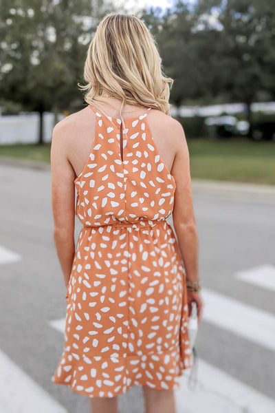 Have Some Fun Printed Bubble Dress - Apricot