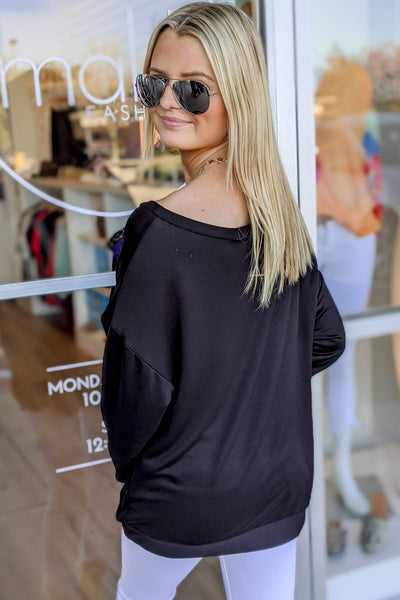 Heart Print Off Shoulder Graphic Top - Black