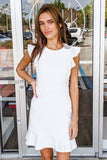 Heart so Pure Ruffle Cap Sleeve Dress - Off White