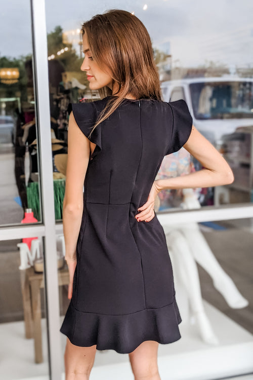 Heart so Pure Ruffle Cap Sleeve Dress - Black