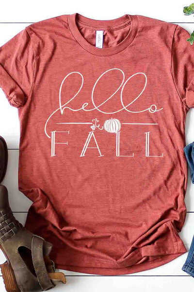 """Hello Fall"" Graphic Tee - Heather Clay"