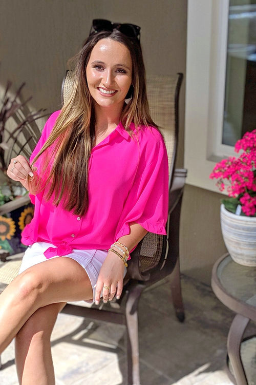 Here's to Ruffles Collared Top - Hot Pink