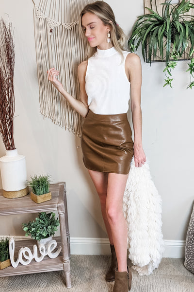 Hitting The Town Faux Leather Skirt - Camel