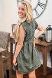 Hold Onto Love Embroidered Lace Romper Dress - Deep Green