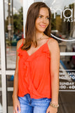 Hot Summer Days Surplice Ruffle Cami Top - Hot Coral