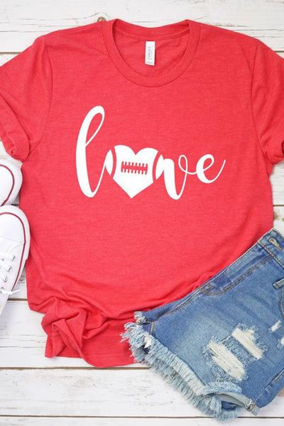 """Love"" Football Graphic Tee - Heather Red"