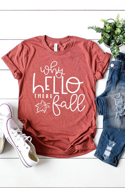 """Why Hello There Fall"" Graphic Tee - Heather Clay"
