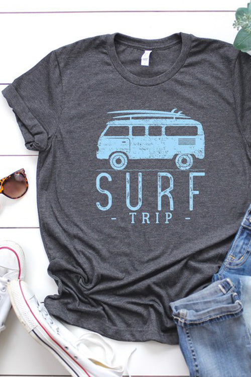 """Surf Trip"" Graphic Tee - Heather Charcoal"