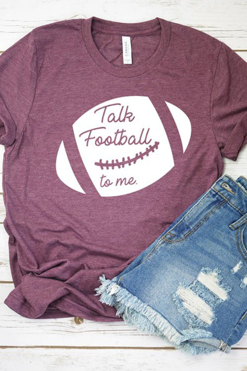 """Talk Football to Me"" Graphic Tee - Heather Plum"