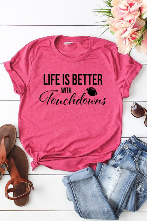 """Better with Touchdowns"" Graphic Tee - Heather Berry"
