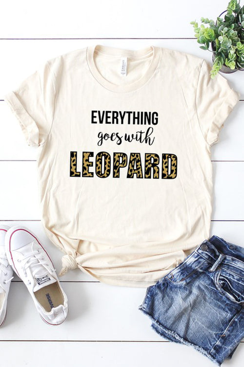 """Everything Goes with Leopard"" Graphic Tee - Cream"