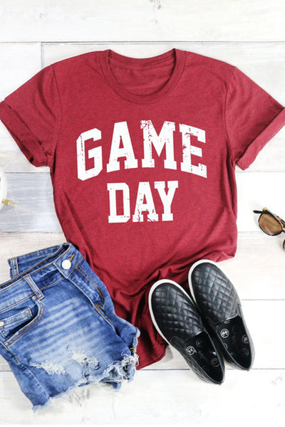 """Game Day"" Graphic Tee - Heather Maroon"
