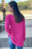 In My Heart Popcorn V-Neck Sweater - Hot Pink