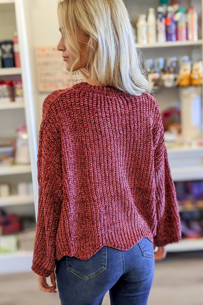 In Your Arms Scalloped Hem Chenille Sweater - Brick