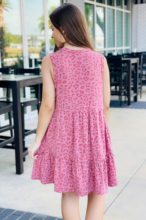Inspired by Love Sleeveless Leopard Print Dress - Canyon Rose