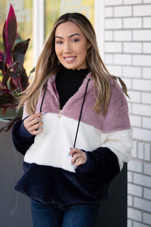In the Moment Color Block Faux Fur Hoodie - Mauve Mix