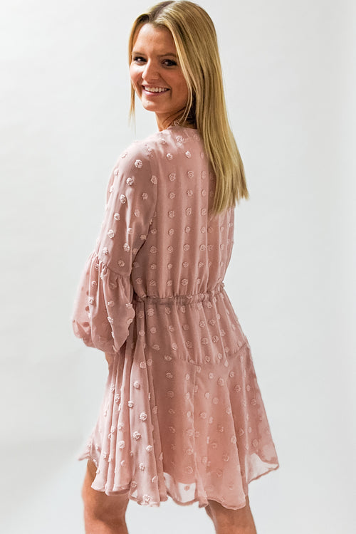 Into the Night Swiss Dot Dress - Blush