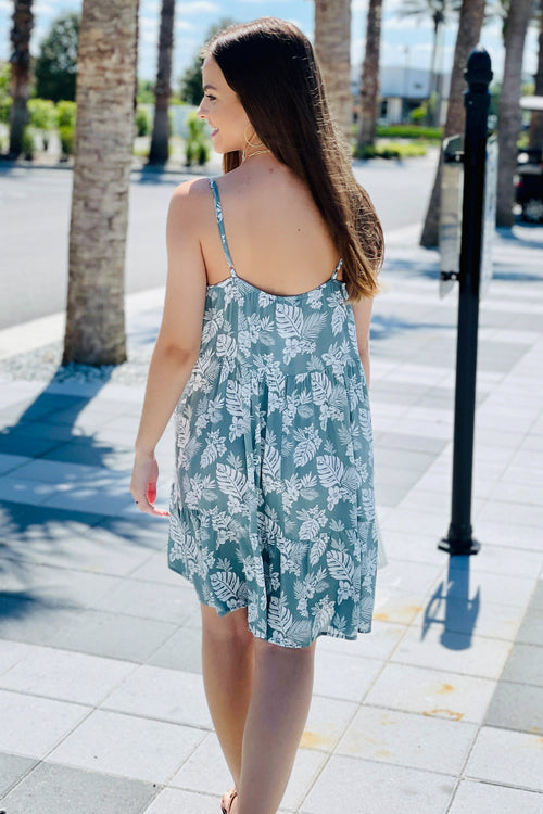 Island Getaway Tropical Print Sleeveless V-Neck Dress - Sage