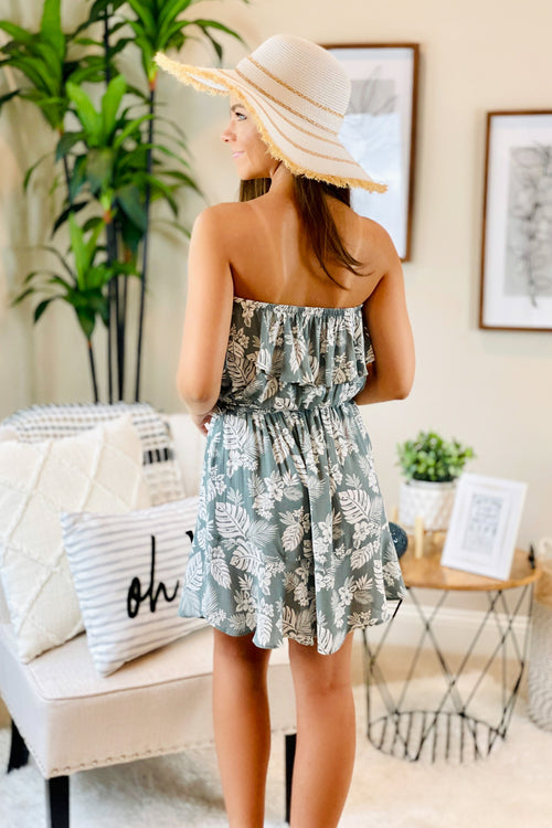 Island Living Tropical Print Strapless Ruffle Dress - Sage