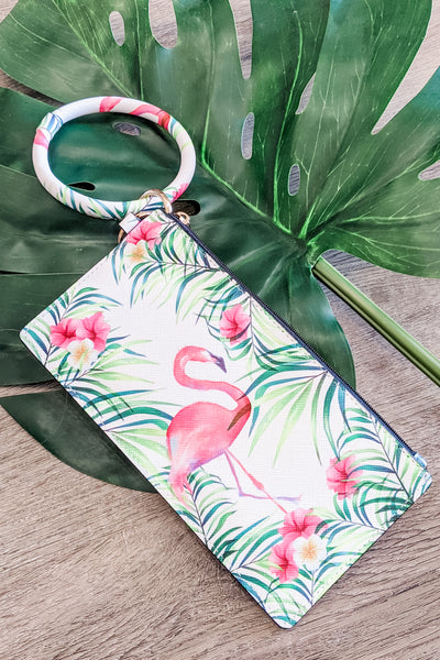 Island Ready Tropical Print Pouch Keychain - Flamingo
