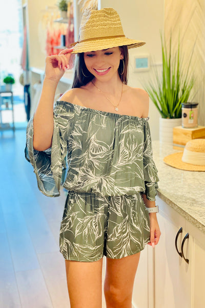 Island Time Tropical Print Off Shoulder Romper - Silver Sage