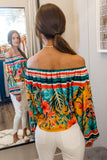 Island Vibes Tropical Print Off Shoulder Top - Sunray Mix