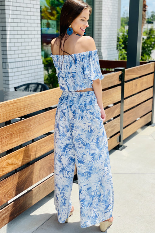 Islands Away Palm Print Wide Leg Pants - Blue
