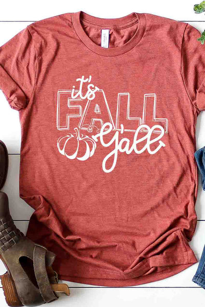 """It's Fall Y'all"" Graphic Tee - Heather Clay"