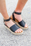 Jillian Espadrille Sandals - Black