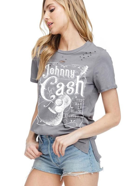 Johnny Cash Distressed Graphic Tee - Charcoal