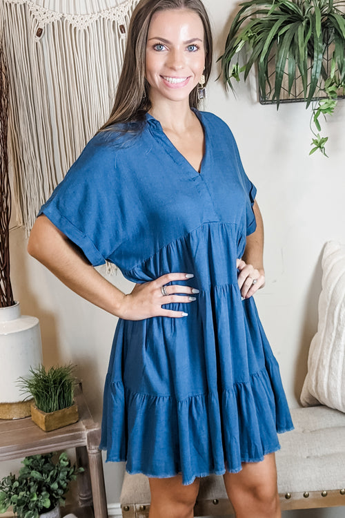 Just for You V-Neck Collared Linen Dress - Dark Teal