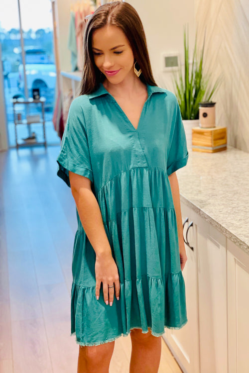 Just for You V-Neck Collared Linen Dress - Jade