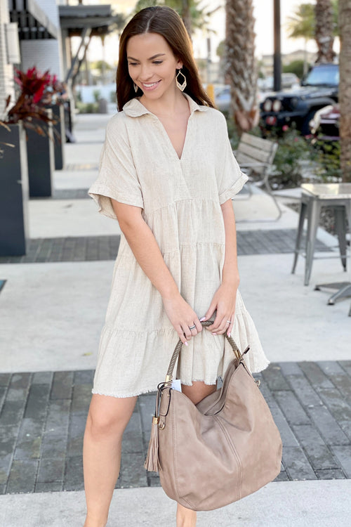 Just for You V-Neck Collared Linen Dress - Oatmeal