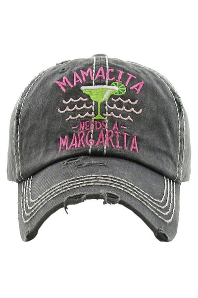"""Mamacita Needs a Margarita"" Embroidered Cap - Black"
